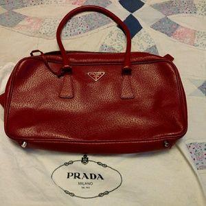 Authentic Red leather Prada bag